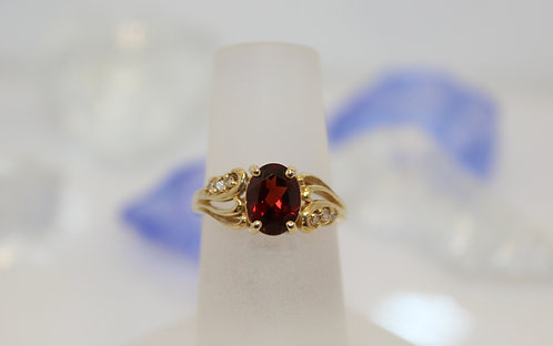 14 KT Gold Garnet Ring with Diamond Accents