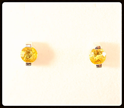 Citrine & Sterling Silver Round Earrings