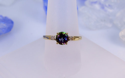 14 KT Gold Mystic Topaz Ring with Diamond Accents