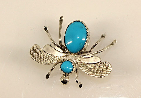 Sterling Silver And Turquoise Bee Pin