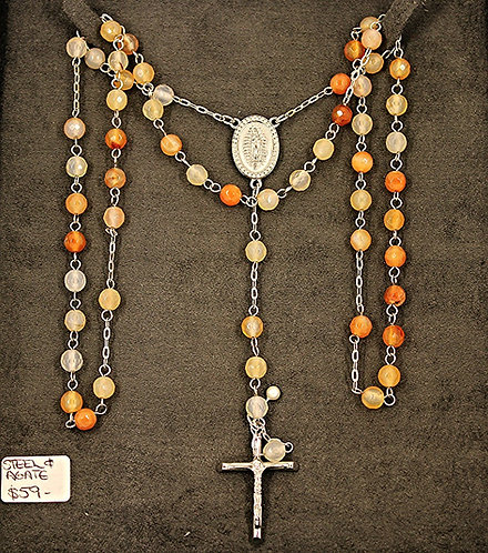 Agate Bead With Steel Rosary