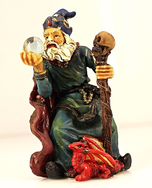 Resin Wizard With Crystal, Staff & Red Dragon