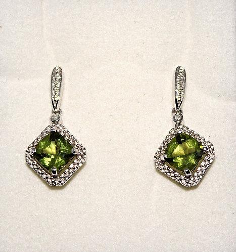 Antique Square Peridot & Diamond Earrings