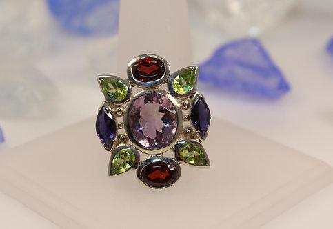 Sterling Silver Amethyst/Multi-Stone Ring
