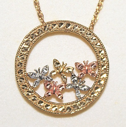 Etched White/Yellow/Rose Gold Butterfly Pendant