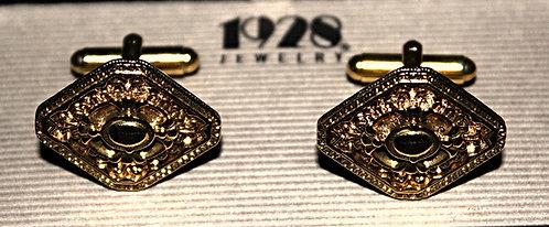 Art Deco Gold Tone Cuff Links