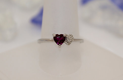 Sterling Silver Rhodolite Garnet Heart Ring with Diamond Accents