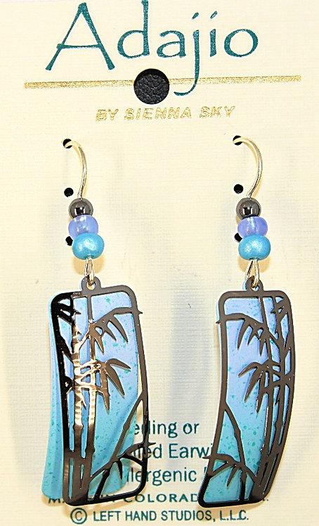 Adajio Light Blue/Silver Tone Palm Tree Earrings