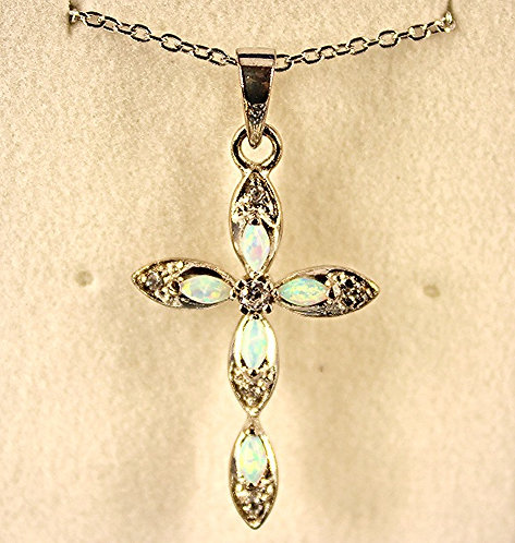 Silver Pendant With 5 Marquise Shaped Opals