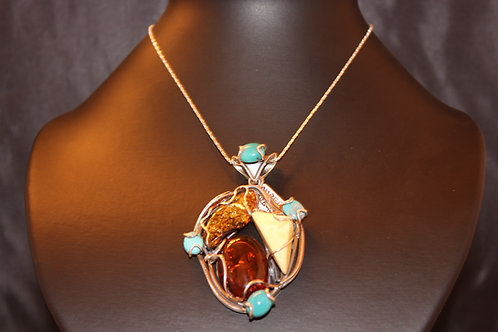 Amber With Turquoise Pendant