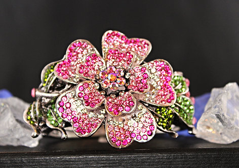 Silver Tone Bracelet/Pink, Green & Clear Crystals