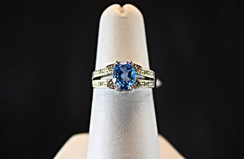 Swiss Blue Topaz Ring With Diamond Accents