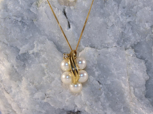 14 KT Gold Pearl Pendant with Diamond Accent