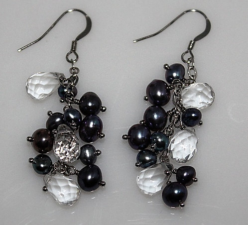 Raven's Wing Pearl & Quartz Crystal Earrings