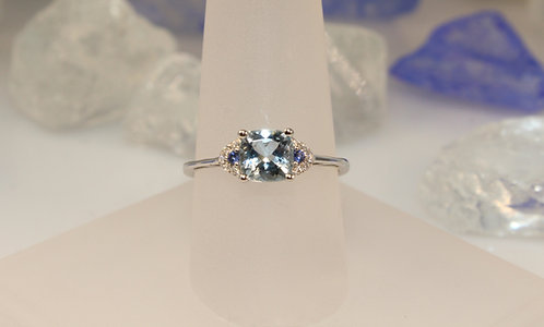 14 KT White Gold Aquamarine/Sapphire Ring with Diamond Accents