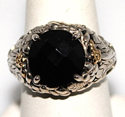 Onyx & Sterling Silver Ring With Gold Accents
