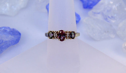 10 KT Gold Alexandrite/Mystic Topaz Ring with Diamond Accents