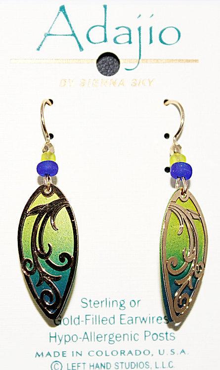 Adajio Green/Blue Gold Tone Beaded Earrings