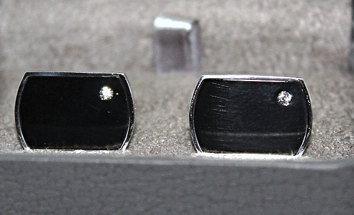 2 Tone Steel Cuff Links With Inlaid CZ Accents