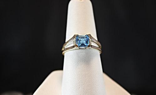 Square Blue Topaz 14K White Gold Ring