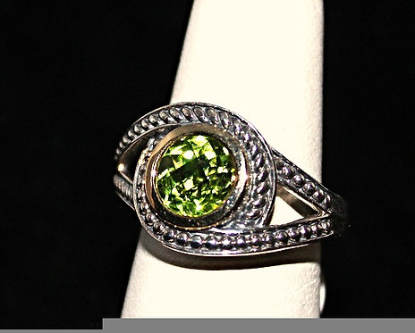 Sterling Silver, 14KT Yellow Gold & Peridot Ring
