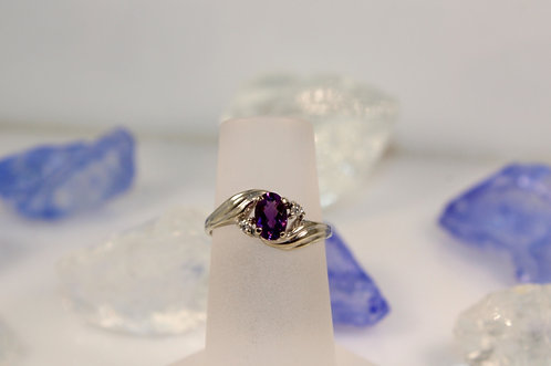 14 KT White Gold Amethyst Ring with Diamond Accents