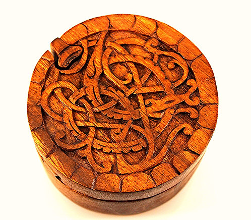Wood Carved Jewelry Puzzle Box-Celtic Design