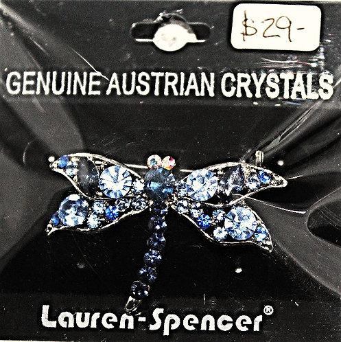 Silver Tone Metal Austrian Crystal Dragonfly Pin