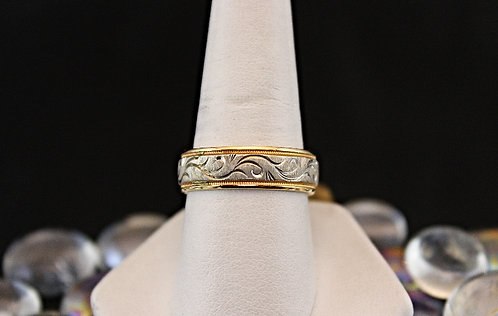 2 Tone Gold Band Wave Pattern - Comfort Fit