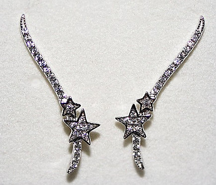 Sterling Silver & CZ Ear Climbers - Double Star