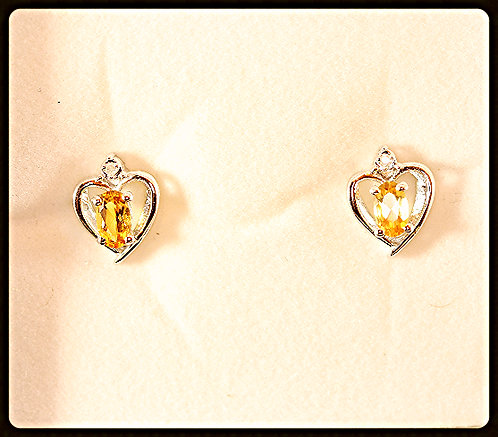Citrine/Silver Heart Shape Earrings/Diamond Accent