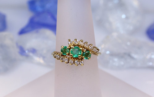 14 KT Gold Emerald Ring with Diamond Accents