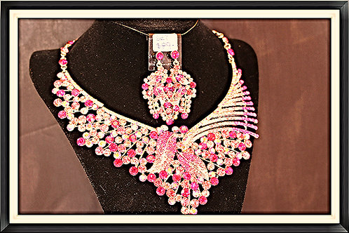 Radiant Pink Crystal Necklace & Earring Set