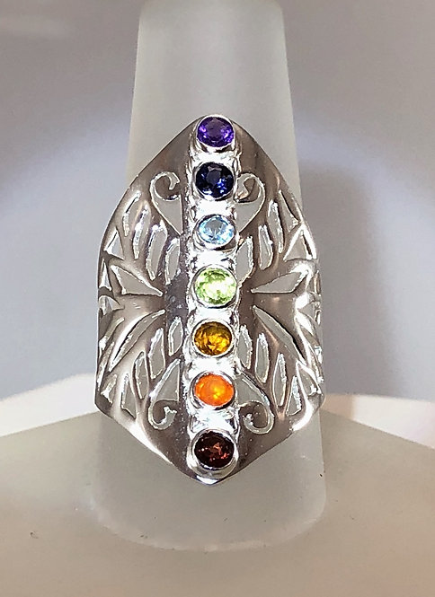 7 Stone Chakra Ring In Sterling Silver. New And In The Show Case.  Size 7 1/4.