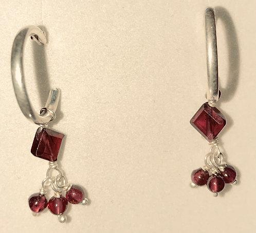 Sterling Silver Hoop Earrings with Garnet Beads