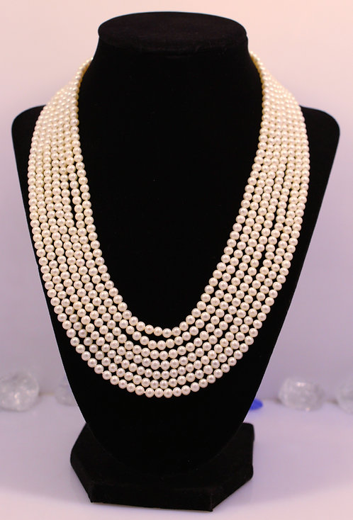 Septuple Strand White Pearl Necklace