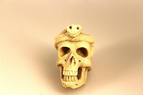 Moose Antler Hand Carved Skull With Snake