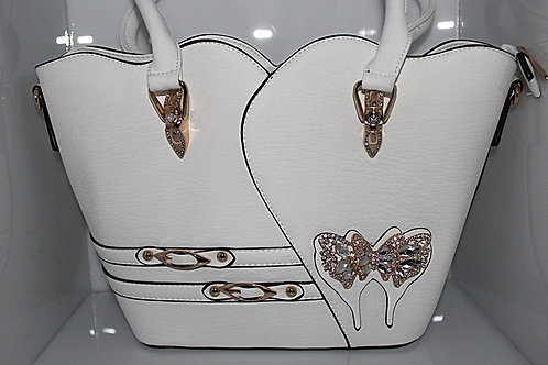 Large White, Gold Tone & Crystal Butterfly Handbag