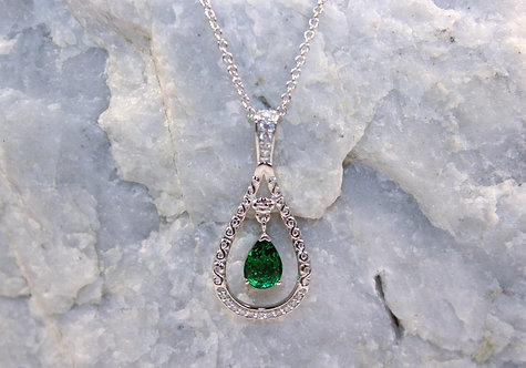 Sterling Silver Emerald Pendant with Cubic Zirconia Accents