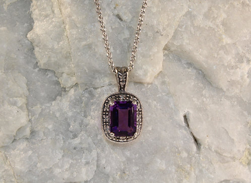 Sterling Silver Amethyst Pendant with Diamond Accents