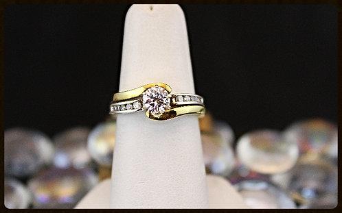 White Gold And 18K Yellow Gold Wedding Set