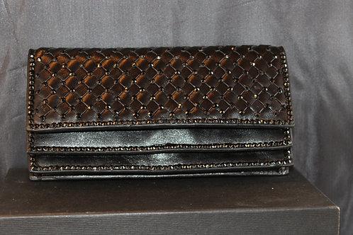 Double Fold Black Wallet/Swarovski Crystal-JAW1016