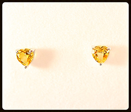 Citrine & Sterling Silver Heart Shape Earrings