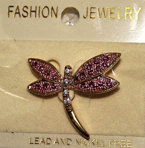 Gold Tone Metal with Pink Austrian Crystal Dragonfly Pin