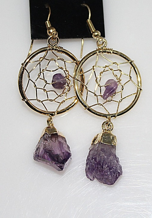 Amethyst Dream Catcher Gold Tone Fashion Earrings