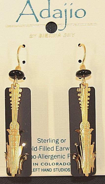 Adajio Gold Tone & Black Beaded Earrings