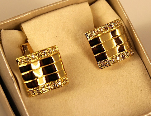 Gold Tone Cuff Links With CZ Accents