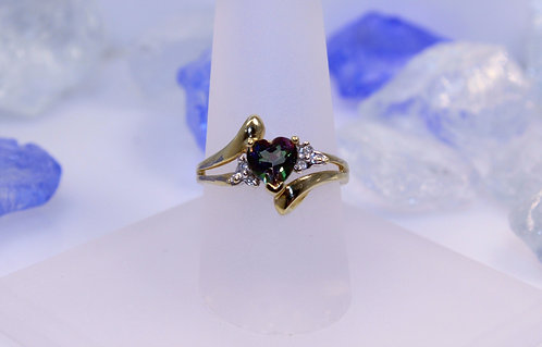 10 KT Gold Mystic Topaz Heart Ring with Diamond Accents