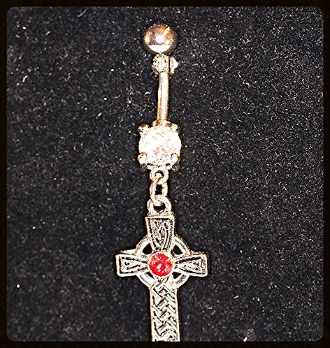 Navel Bar/Red & Clear Crystal/Cross/Steel - 3/8""