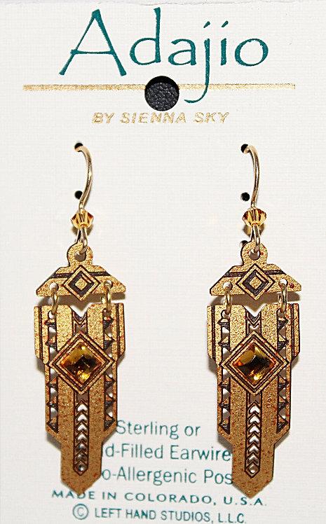 Adajio Brown/Gold Beaded Earrings - P/N 7670